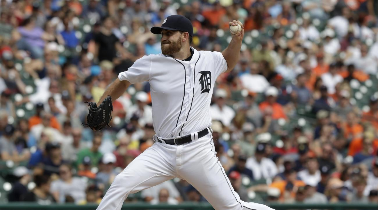 Detroit Tigers starting pitcher Matt Boyd throws during the sixth inning of a baseball game against the Boston Red Sox Thursday, Aug. 18, 2016, in Detroit. (AP Photo/Carlos Osorio)