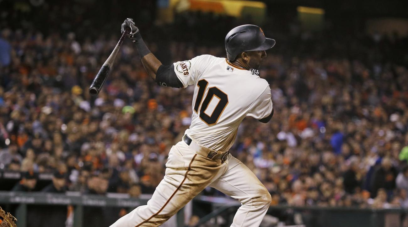 San Francisco Giants' Eduardo Nunez watches his RBI single off New York Mets starting pitcher Jacob deGrom during the fifth inning of a baseball game Thursday, Aug. 18, 2016, in San Francisco. (AP Photo/Eric Risberg)