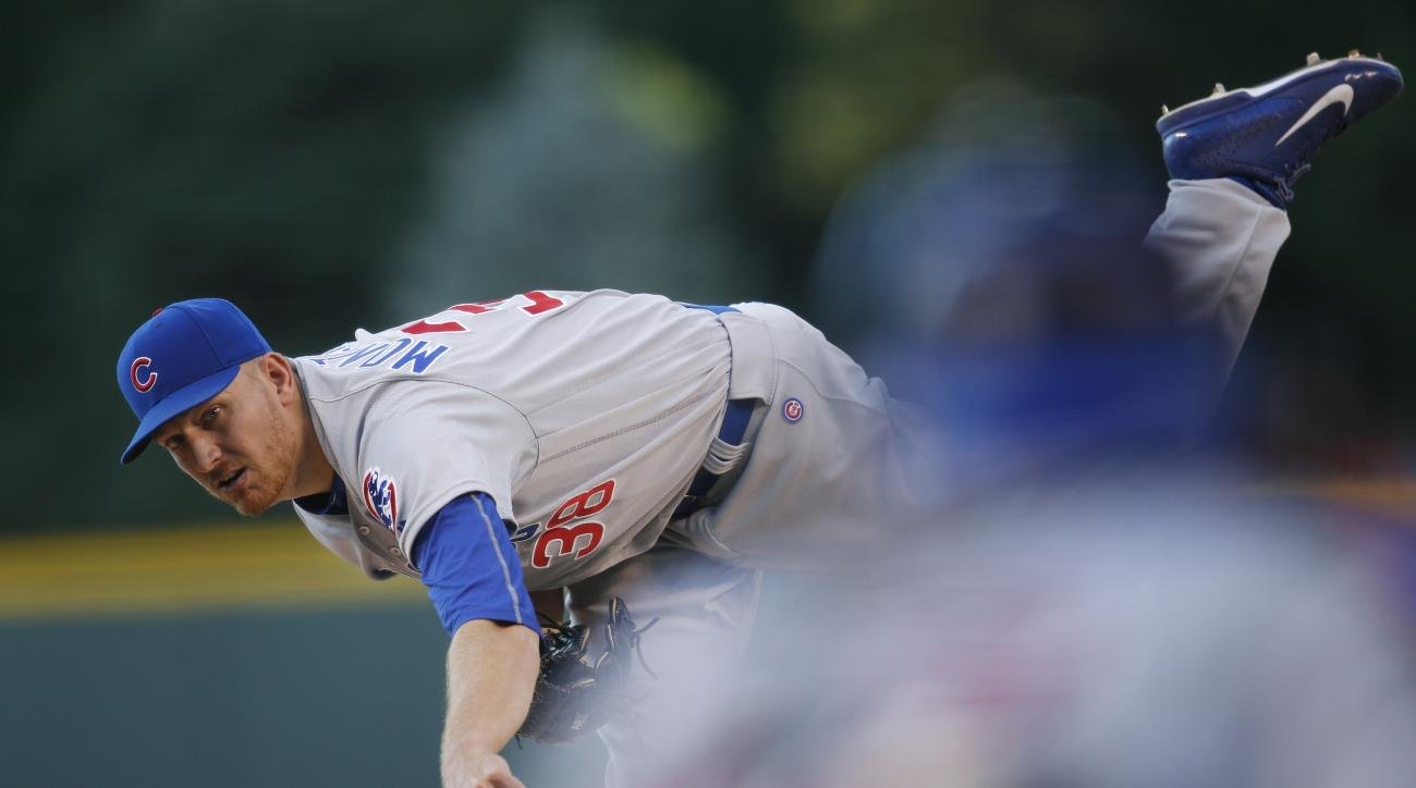 Chicago Cubs relief pitcher Mike Montgomery delivers to Colorado Rockies' David Dahl in the first inning of a baseball game Saturday, Aug. 20, 2016, in Denver. (AP Photo/David Zalubowski)
