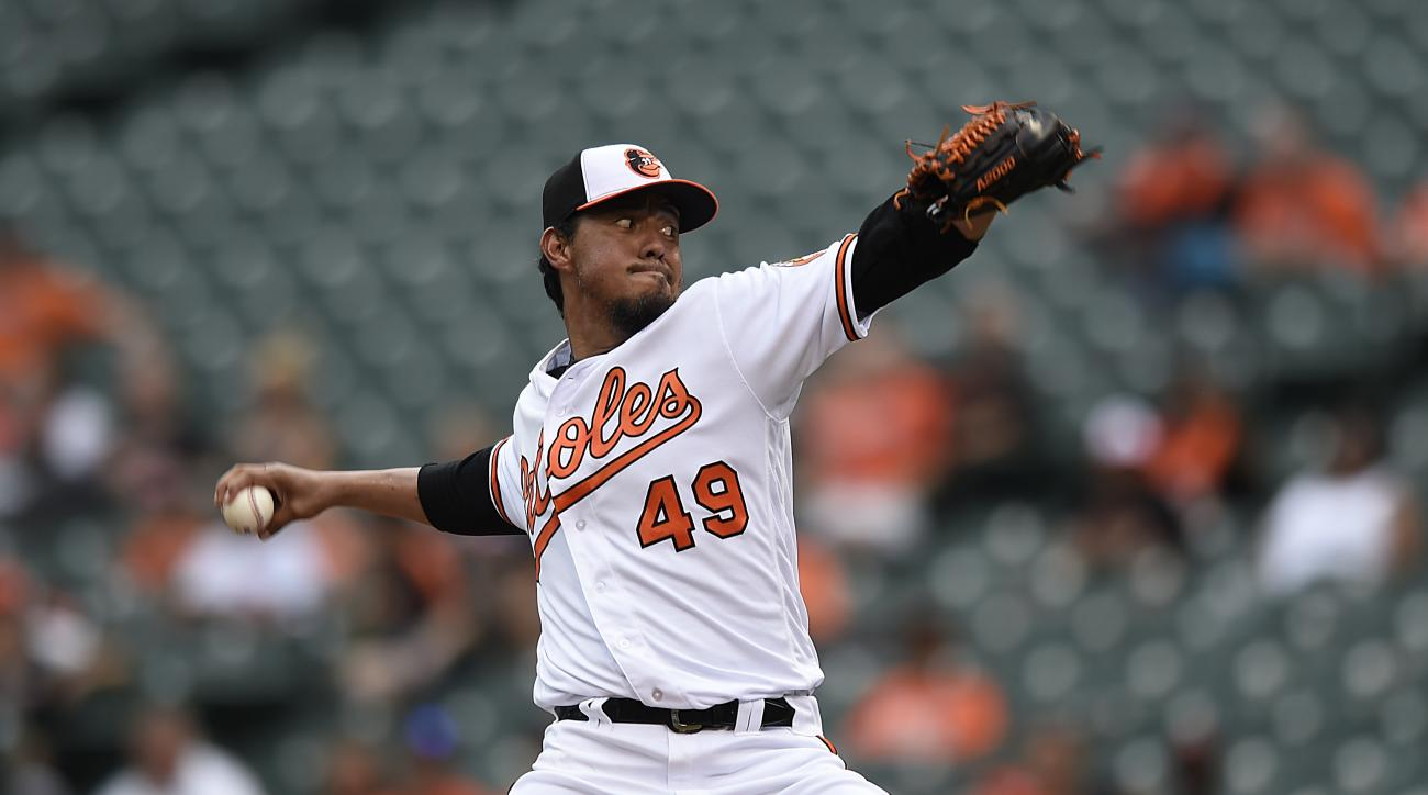Baltimore Orioles pitcher Yovani Gallardo throws to the Houston Astros in the first inning of a baseball game, Sunday, Aug. 21, 2016, in Baltimore. (AP Photo/Gail Burton)