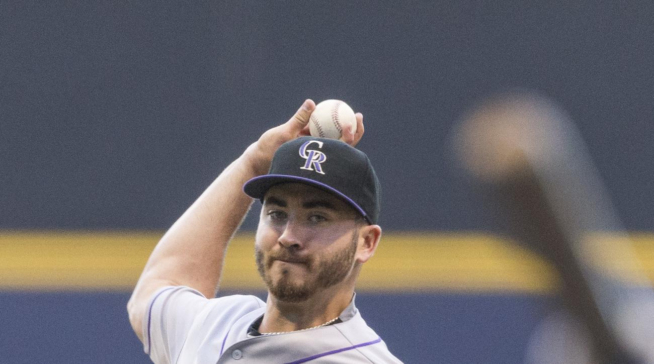 Colorado Rockies' Chad Bettis pitches to a Milwaukee Brewers' batter during the first inning of a baseball game, Monday, Aug. 22, 2016, in Milwaukee. (AP Photo/Tom Lynn)