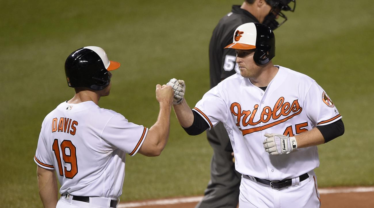 Baltimore Orioles' Mark Trumbo, right, celebrates his two-run home run with Chris Davis (19) during the fourth inning of a baseball game against the Washington Nationals, Monday, Aug. 22, 2016, in Baltimore. (AP Photo/Nick Wass)