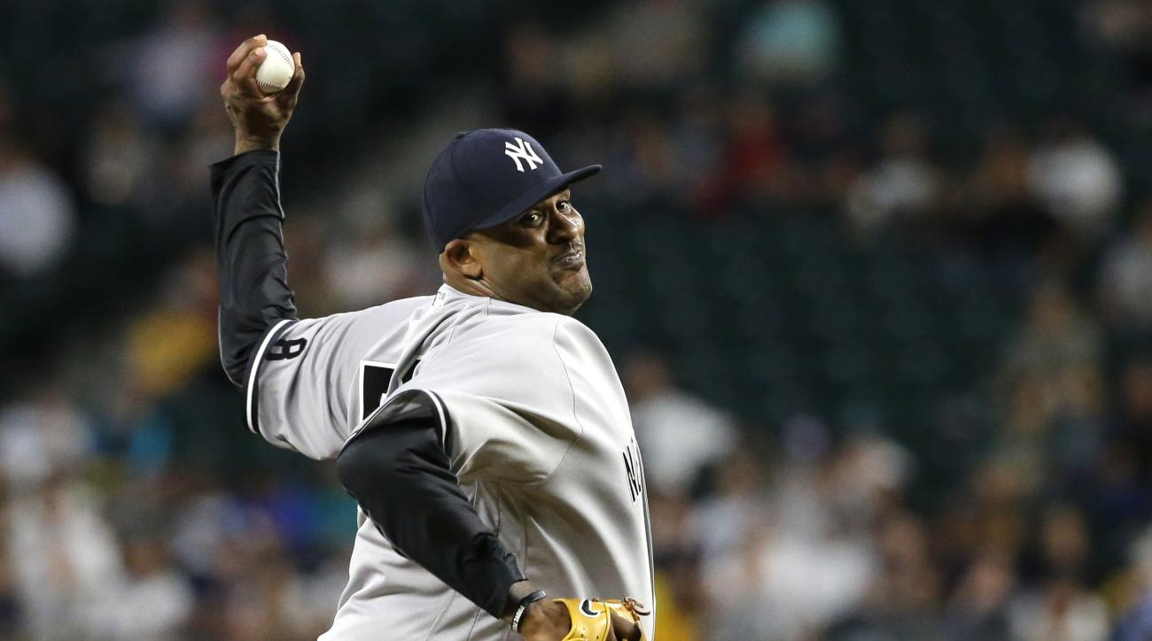 New York Yankees starting pitcher CC Sabathia throws against the Seattle Mariners during the fifth inning of a baseball game, Tuesday, Aug. 23, 2016, in Seattle. Sabathia pitched seven innings, allowing three hits and one run. (AP Photo/Ted S. Warren)