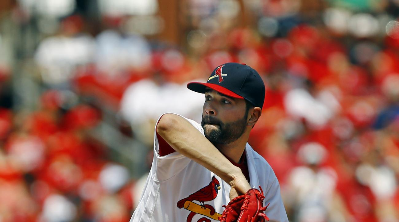 St. Louis Cardinals starting pitcher Jaime Garcia throws during the first inning of a baseball game against the Oakland Athletics, Sunday, Aug. 28, 2016, in St. Louis. (AP Photo/Billy Hurst)
