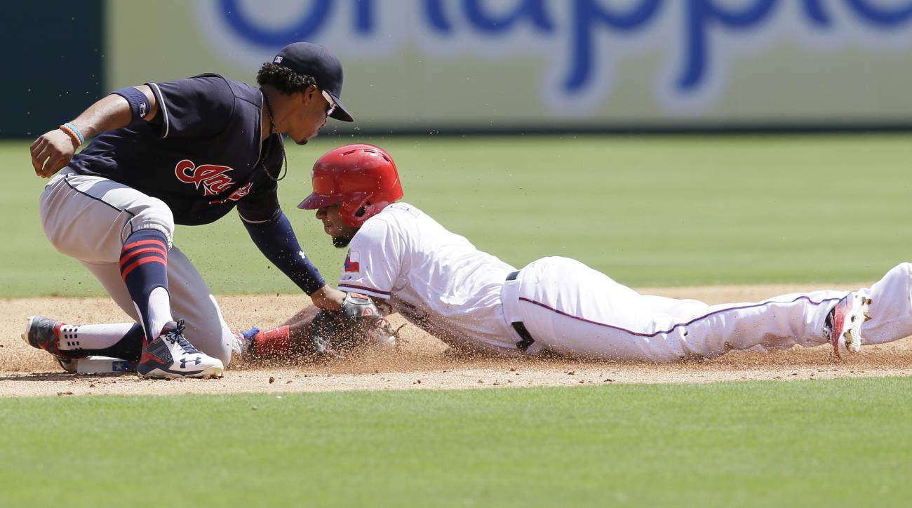 Texas Rangers Elvis Andrus, right, steals second base against Cleveland Indians shortstop Francisco Lindor during the third inning of a baseball game in Arlington, Texas, Sunday, Aug. 28, 2016. Andrus was originally called out on the play but it was overt