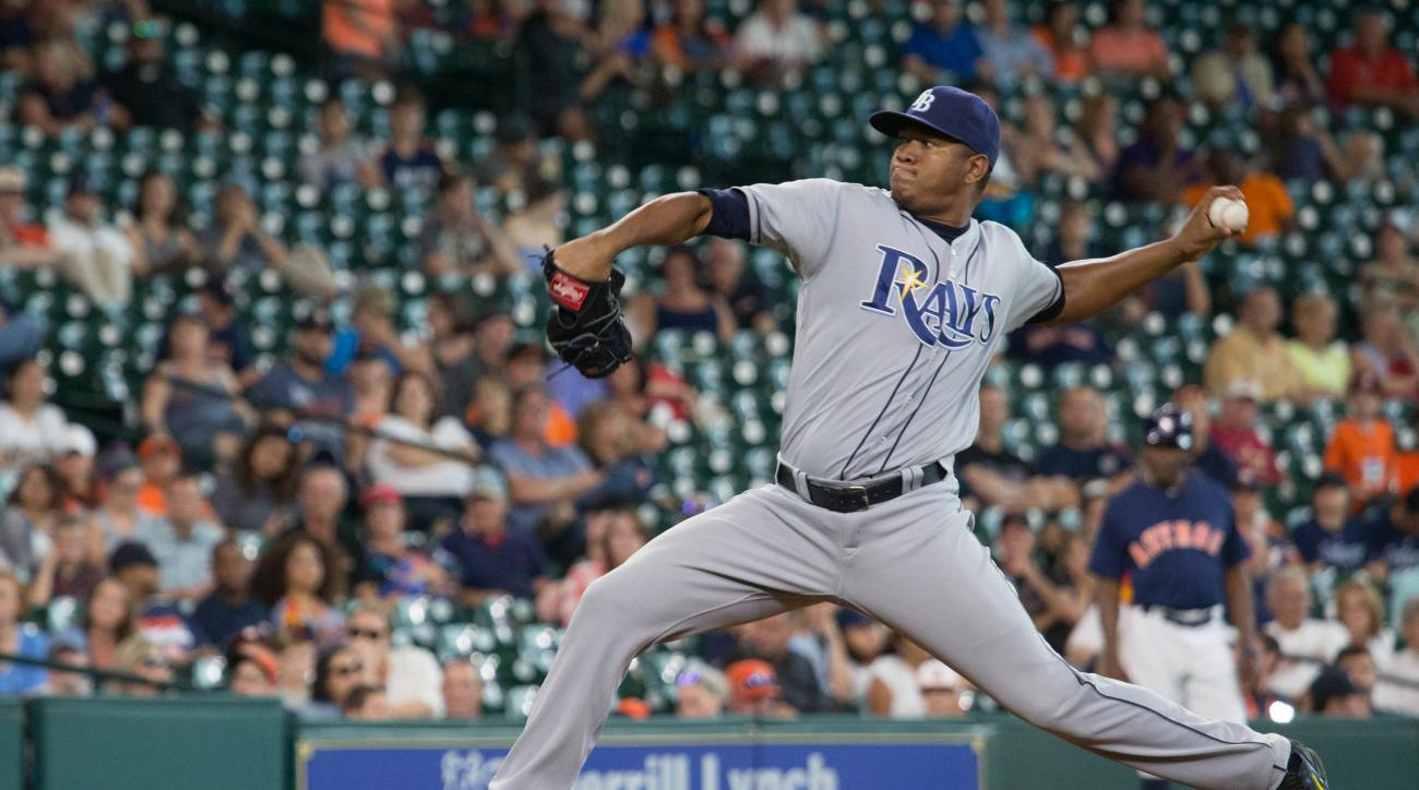 Tampa Bay Rays closing pitcher Enny Romero pitches against the Houston Astros in the ninth inning of a baseball game Sunday Aug. 28, 2016, in Houston. (AP Photo/Richard Carson)