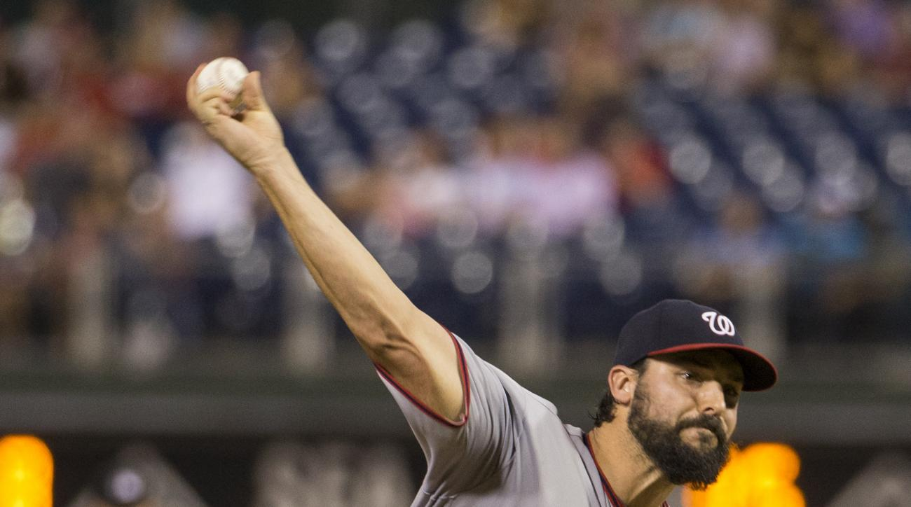 Washington Nationals starting pitcher Tanner Roark throws a pitch during the third inning of a baseball game against the Philadelphia Phillies, Monday, Aug. 29, 2016, in Philadelphia. (AP Photo/Chris Szagola)