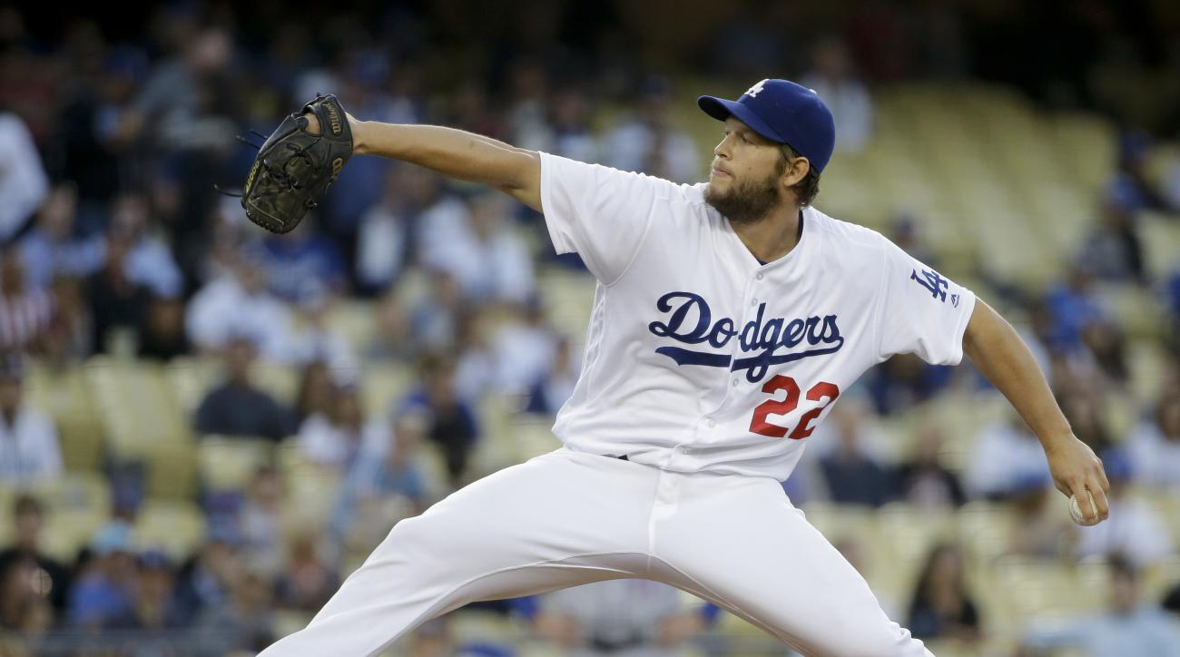 FILE - In this May 12, 2016, file photo, Los Angeles Dodgers pitcher Clayton Kershaw throws to a New York Mets batter during a baseball game in Los Angeles. Kershaw took a big step toward a return by throwing two solid innings during a simulated game Tues