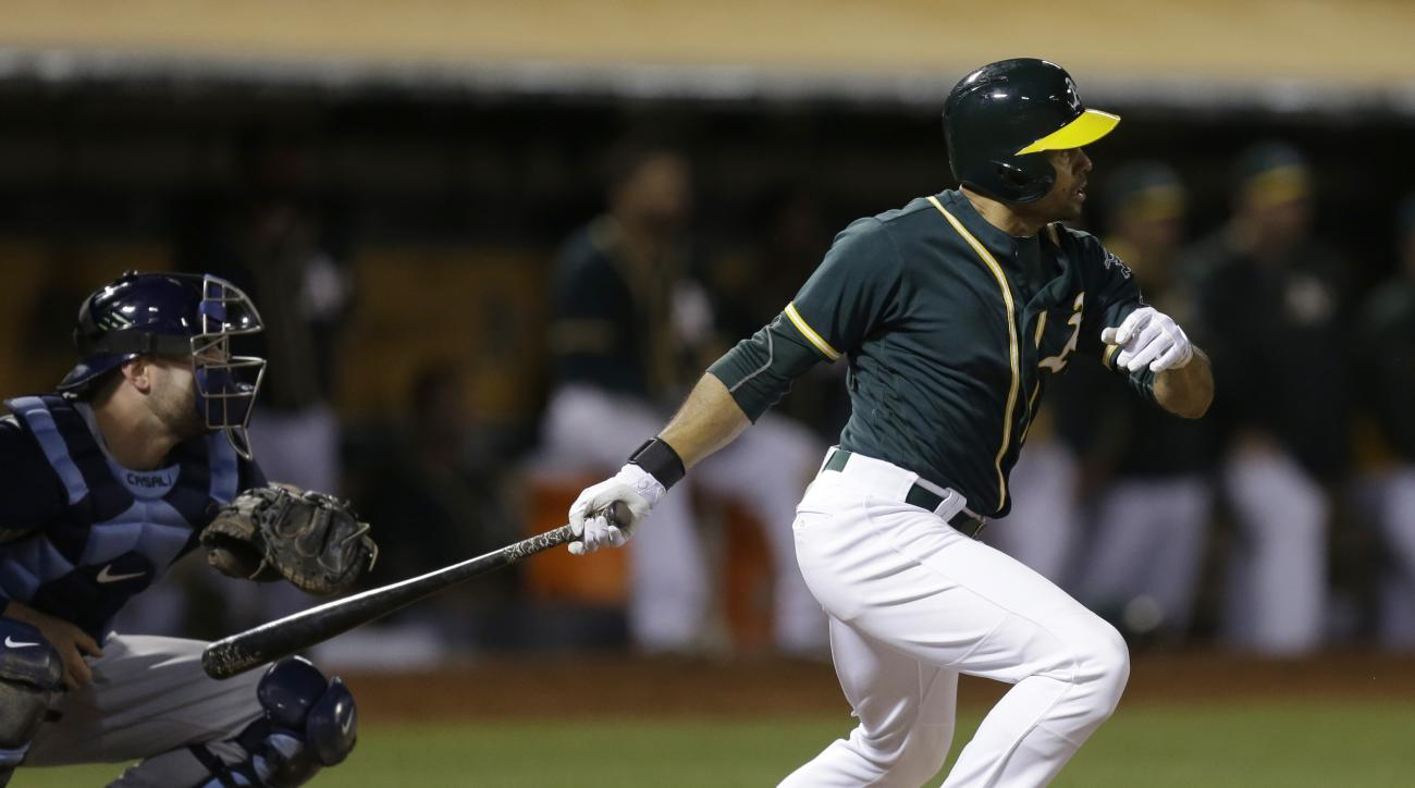 FILE - In this July 22, 2016, file photo, Oakland Athletics' Coco Crisp swings for the game winning hit against the Tampa Bay Rays in the 13th inning of a baseball game, in Oakland, Calif. The Cleveland Indians have bolstered their outfield depth by acqui