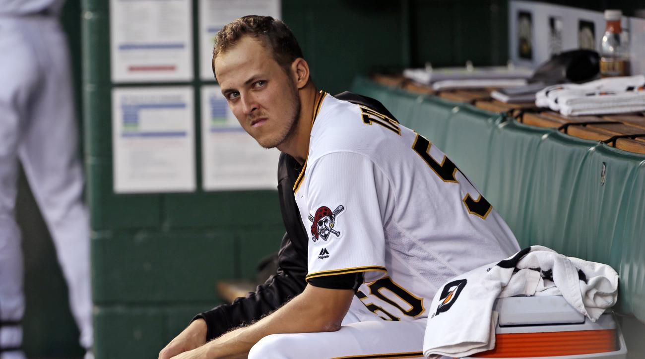 Pittsburgh Pirates starting pitcher Jameson Taillon sits in the dugout during the bottom of the first inning of a baseball game at against the Milwaukee Brewers in Pittsburgh, Friday, Sept. 2, 2016. (AP Photo/Gene J. Puskar)