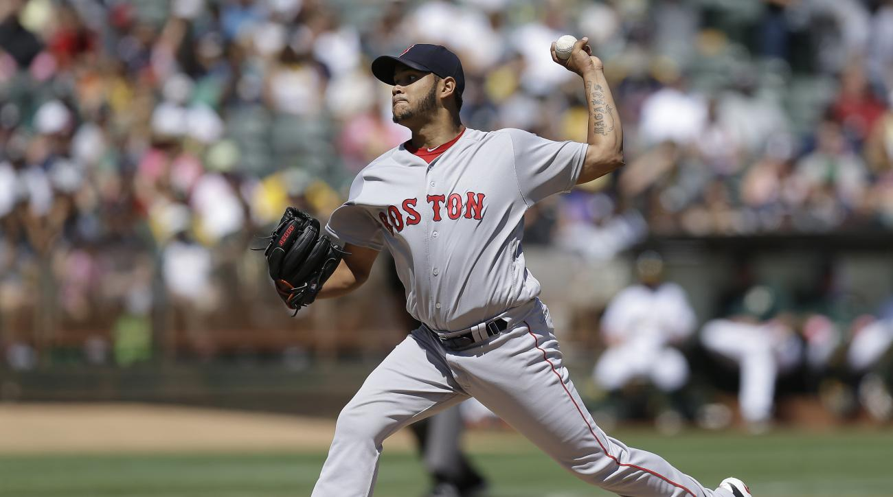 Boston Red Sox pitcher Eduardo Rodriguez works against the Oakland Athletics in the first inning of a baseball game, Sunday, Sept. 4, 2016, in Oakland, Calif. (AP Photo/Ben Margot)