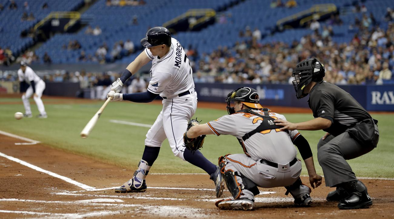 Tampa Bay Rays' Logan Morrison prepares to hit a three-run home run off Baltimore Orioles starting pitcher Ubaldo Jimenez during the first inning of a baseball game Monday, Sept. 5, 2016, in St. Petersburg, Fla. Looking on is Orioles catcher Matt Wieters