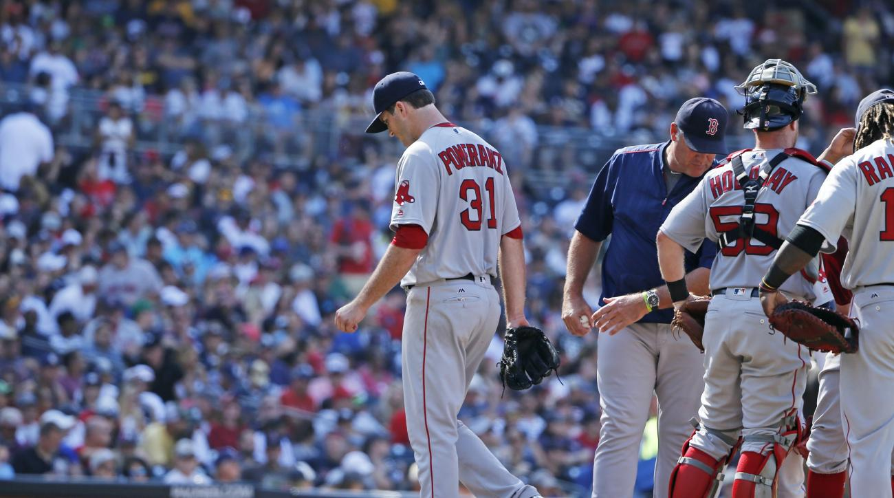 Boston Red Sox starting pitcher Drew Pomeranz leaves the mound after being relieved by manager John Farrell during the seventh inning of a baseball game against the San Diego Padres on Monday, Sept. 5, 2016, in San Diego (AP Photo/Lenny Ignelzi)