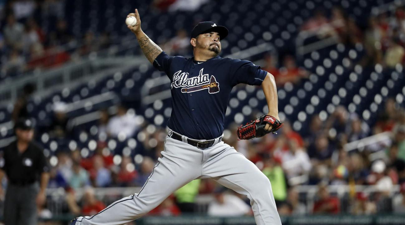 Atlanta Braves starting pitcher Williams Perez throws during the second inning of a baseball game against the Washington Nationals at Nationals Park, Tuesday, Sept. 6, 2016, in Washington. (AP Photo/Alex Brandon)