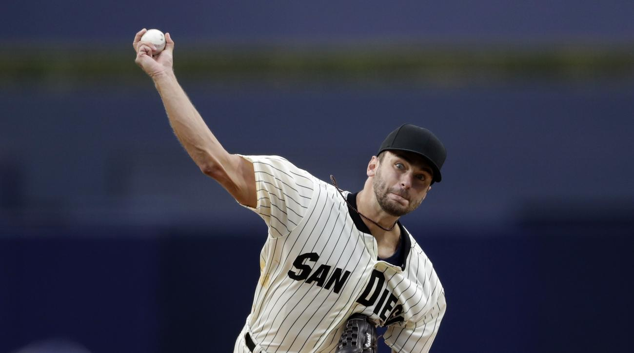 San Diego Padres starting pitcher Jarred Cosart works against a Boston Red Sox batter during the first inning of a baseball game Wednesday, Sept. 7, 2016, in San Diego. (AP Photo/Gregory Bull)