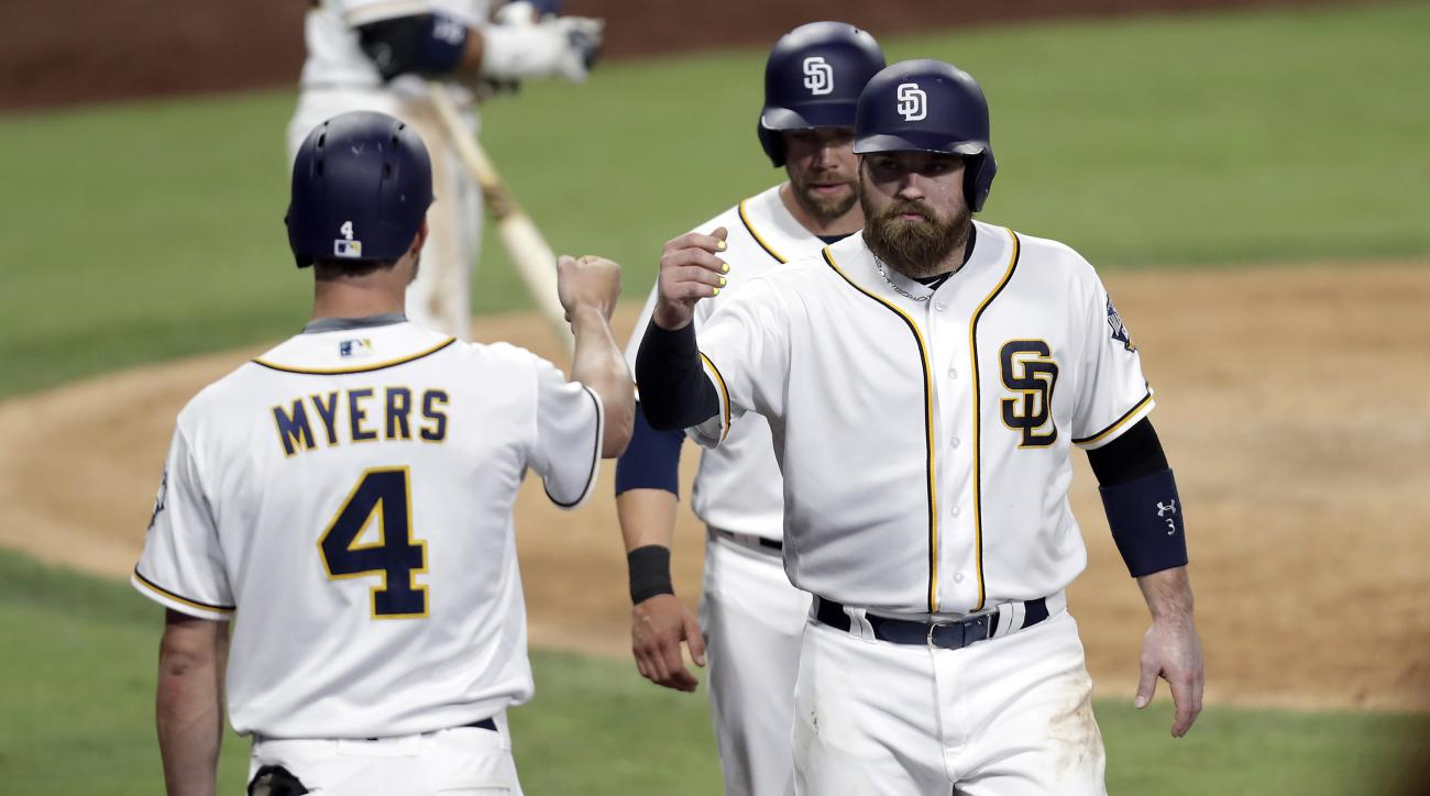 San Diego Padres' Derek Norris, right, bumps fists with Wil Myers, left, after scoring against the Colorado Rockies during the fifth inning of a baseball game, Thursday, Sept. 8, 2016, in San Diego. (AP Photo/Ryan Kang)
