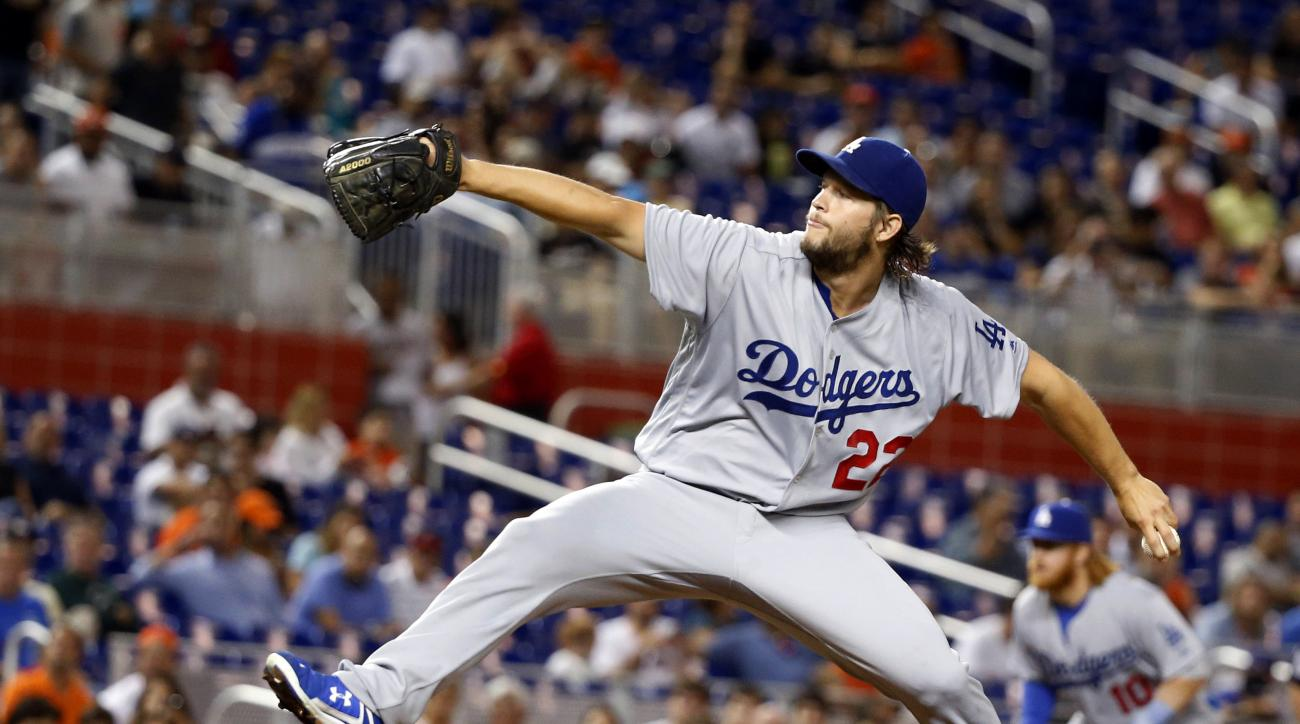 Los Angeles Dodgers' Clayton Kershaw delivers a pitch during the first inning of a baseball game against the Miami Marlins, Friday, Sept. 9, 2016, in Miami. (AP Photo/Wilfredo Lee)