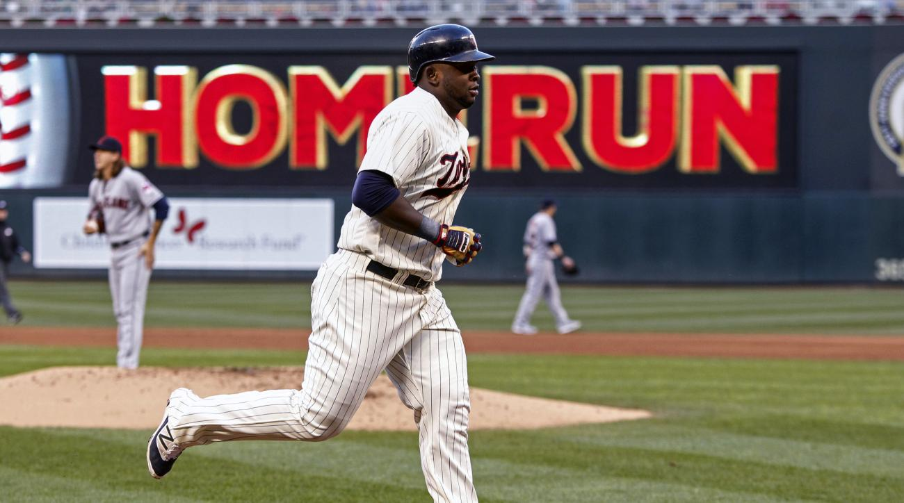 Minnesota Twins designated hitter Miguel Sano runs the bases after his home run against the Cleveland Indians in the second inning of a baseball game Saturday, Sept. 10, 2016, in Minneapolis. (AP Photo/Bruce Kluckhohn)