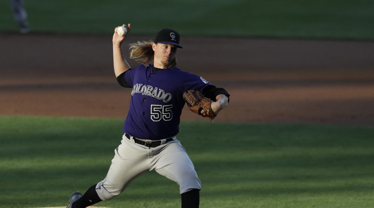 Colorado Rockies starting pitcher Jon Gray works against a San Diego Padres batter during the second inning of a baseball game Saturday, Sept. 10, 2016, in San Diego. (AP Photo/Gregory Bull)