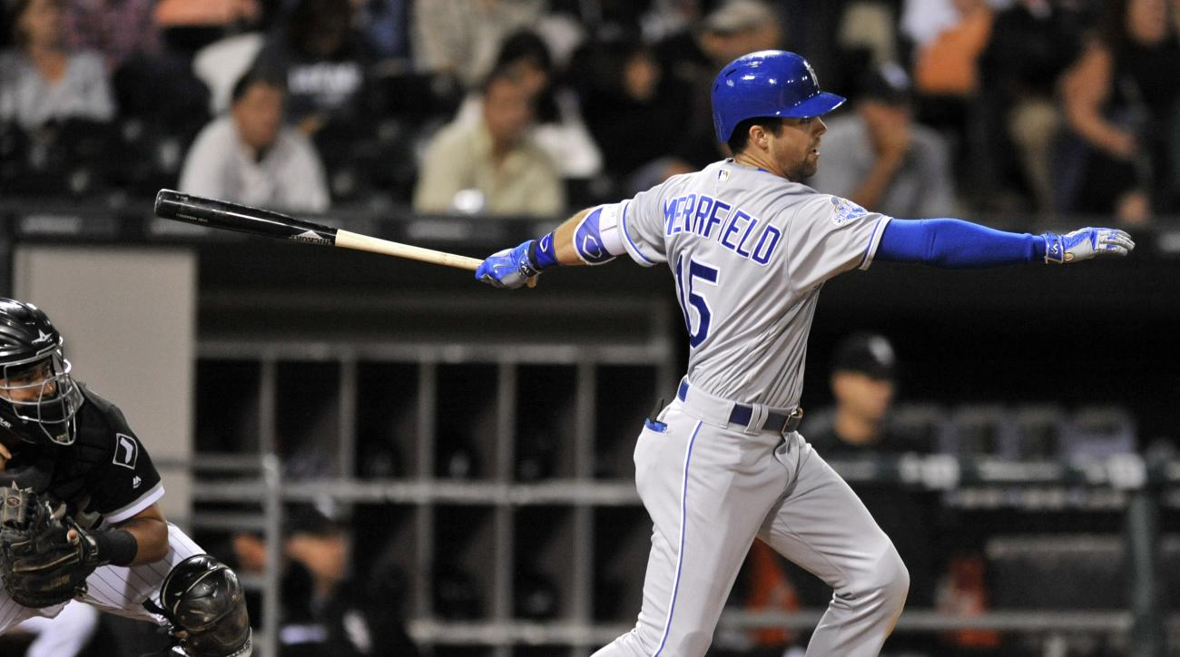 Kansas City Royals' Whit Merrifield watches his two-RBI double during the seventh inning of a baseball game against the Chicago White Sox Saturday, Sept. 10, 2016, in Chicago. (AP Photo/Paul Beaty)