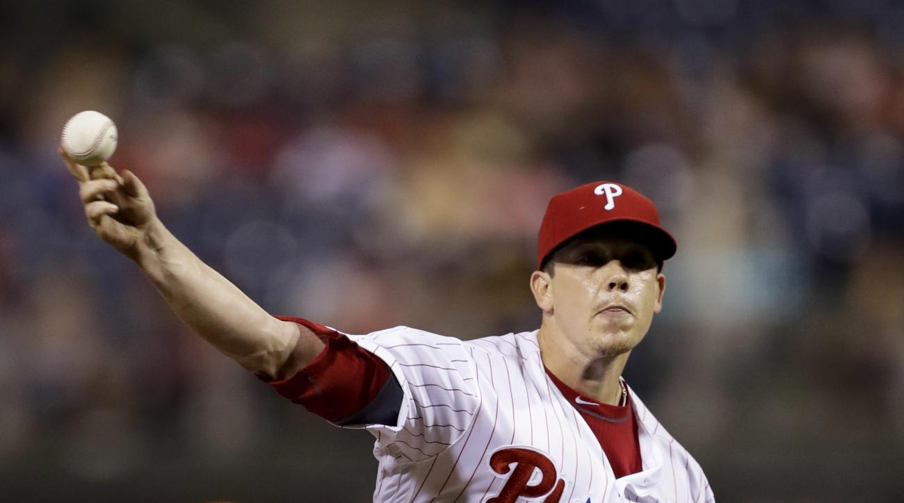 Philadelphia Phillies' Jeremy Hellickson pitches during the third inning of a baseball game against the Pittsburgh Pirates, Monday, Sept. 12, 2016, in Philadelphia. (AP Photo/Matt Slocum)