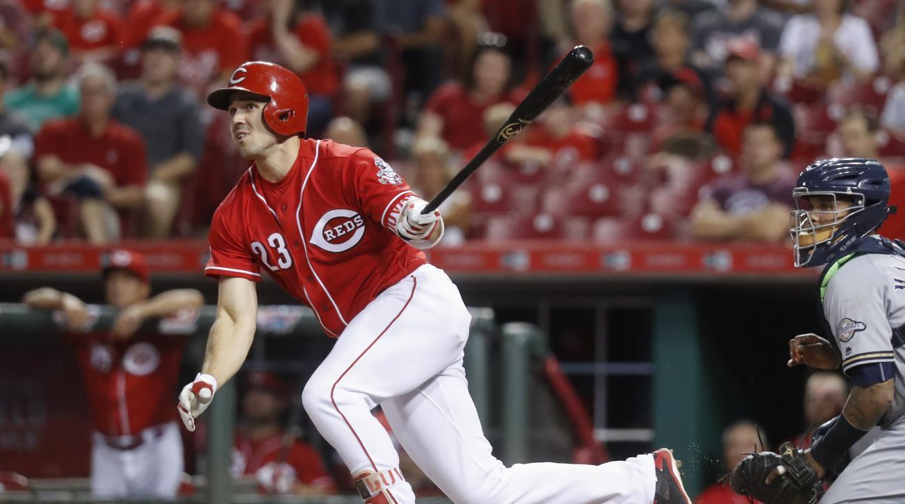 Cincinnati Reds' Adam Duvall watches his wo-run double off Milwaukee Brewers starting pitcher Matt Garza during the third inning of a baseball game, Tuesday, Sept. 13, 2016, in Cincinnati. (AP Photo/John Minchillo)