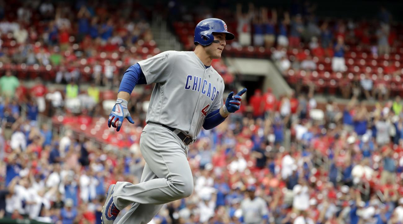 Chicago Cubs' Anthony Rizzo rounds the bases after hitting a two-run home run during the ninth inning of a baseball game against the St. Louis Cardinals Wednesday, Sept. 14, 2016, in St. Louis. It was Rizzo's second home run of the game. (AP Photo/Jeff Ro