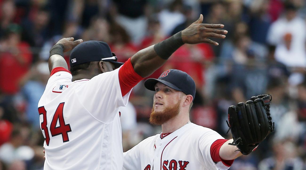 Boston Red Sox's David Ortiz (34) and Craig Kimbrel celebrate after the Red Sox defeated the New York Yankees 6-5 in a baseball game in Boston, Saturday, Sept. 17, 2016. (AP Photo/Michael Dwyer)