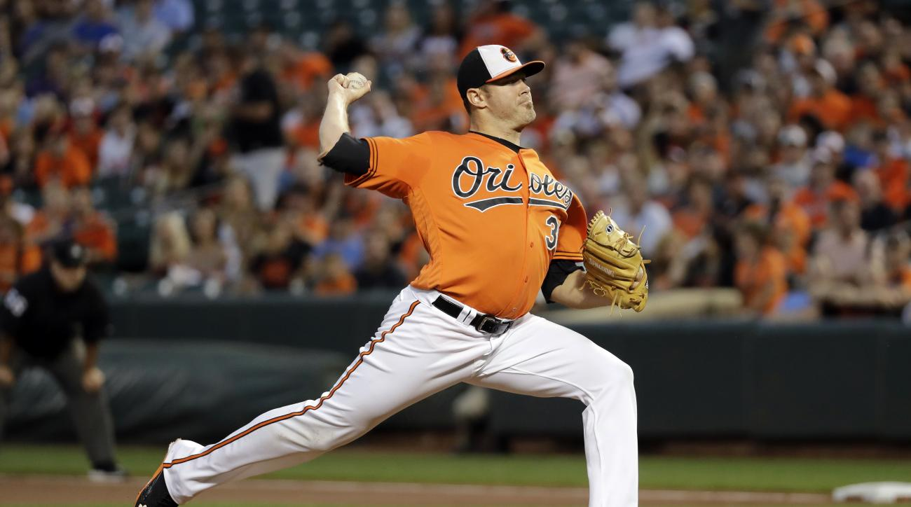 Baltimore Orioles starting pitcher Chris Tillman throws to the Tampa Bay Rays in the first inning of a baseball game in Baltimore, Saturday, Sept. 17, 2016. (AP Photo/Patrick Semansky)