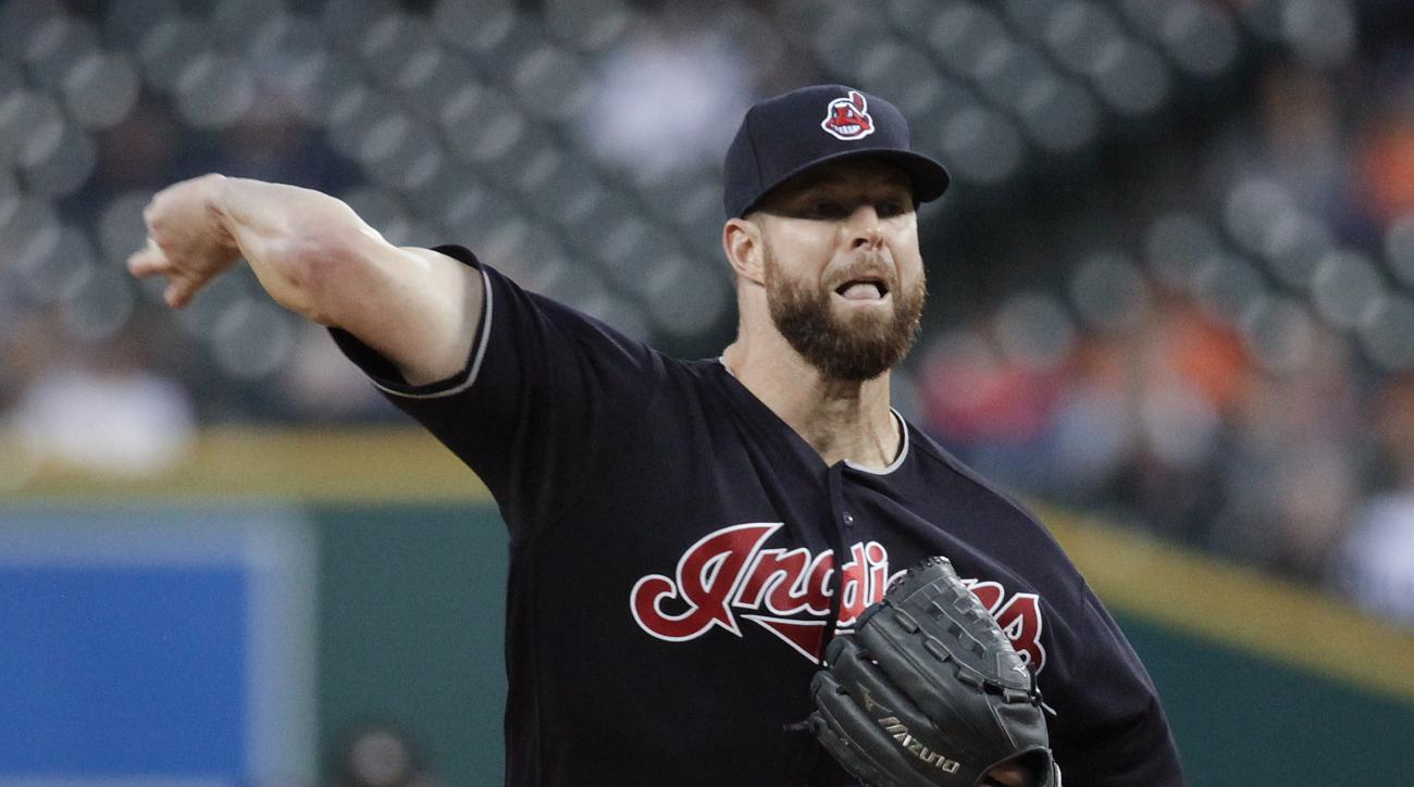 Cleveland Indians pitcher Corey Kluber throws against the Detroit Tigers during the first inning of a baseball game in Detroit, Monday, Sept. 26, 2016. (AP Photo/Paul Sancya)