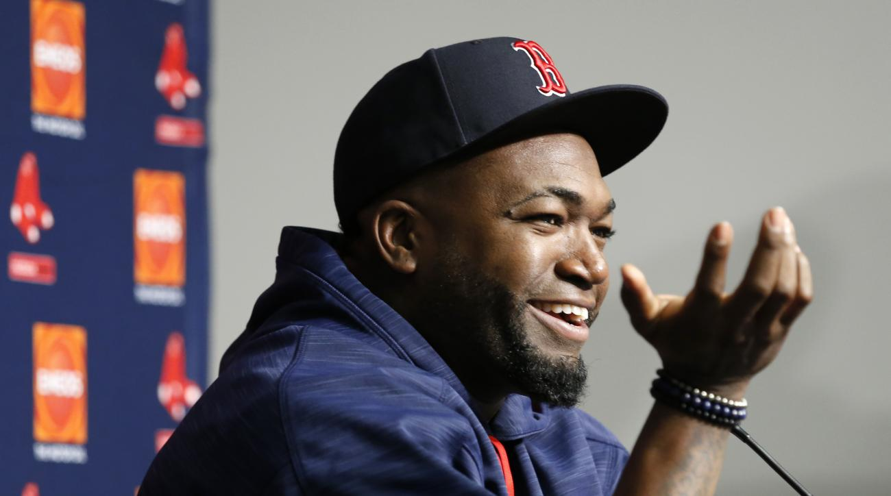 Boston Red Sox designated hitter David Ortiz speaks during a press conference before the first baseball game of a three-game series against the New York Yankees in New York, Tuesday, Sept. 27, 2016. Ortiz, who plans to retire at the end of the 2016 season
