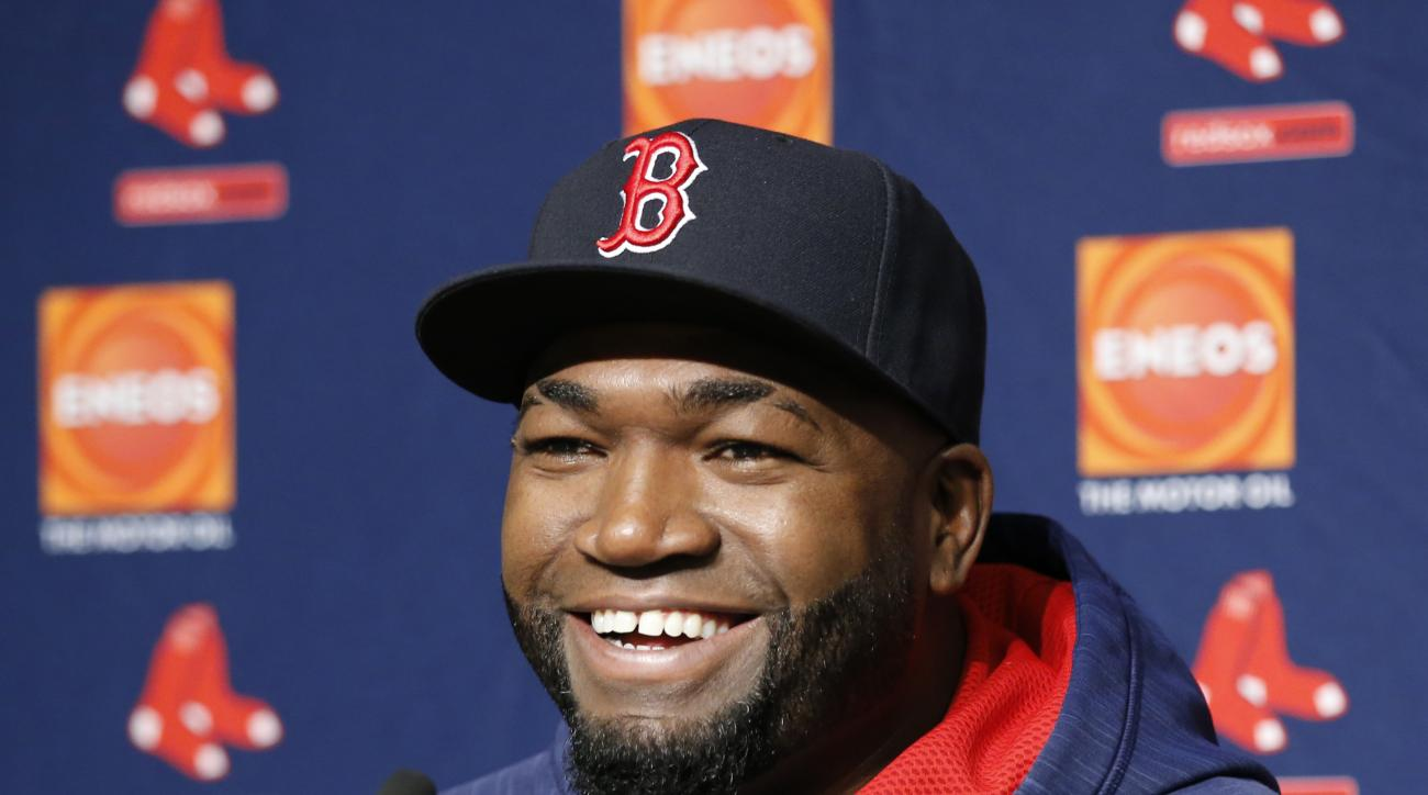 Boston Red Sox designated hitter David Ortiz laughs during a press conference before the first baseball game of a three-game series against the New York Yankees in New York, Tuesday, Sept. 27, 2016. (AP Photo/Kathy Willens)
