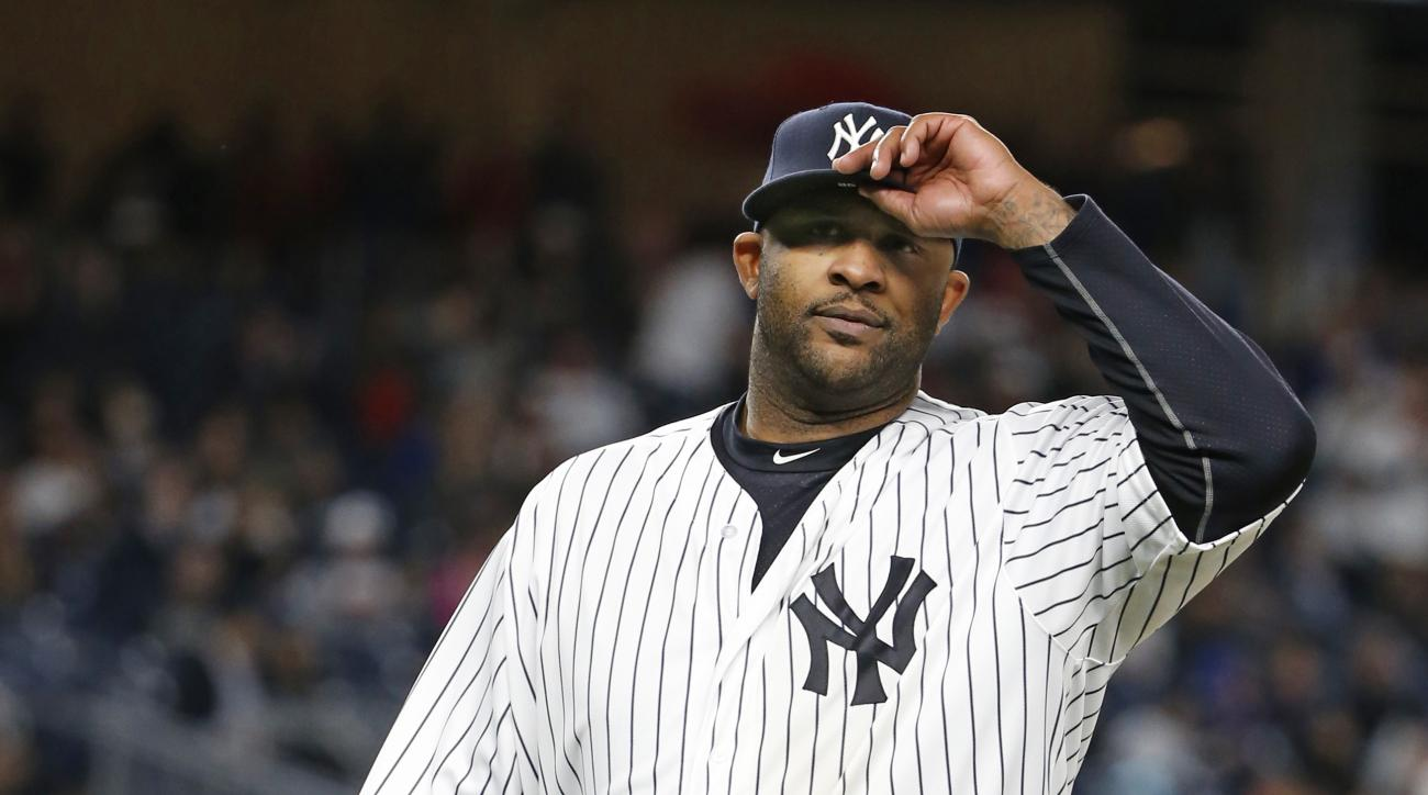New York Yankees starting pitcher CC Sabathia leaves the field in the eighth inning of a baseball game against the Boston Red Sox in New York, Thursday, Sept. 29, 2016. (AP Photo/Kathy Willens)