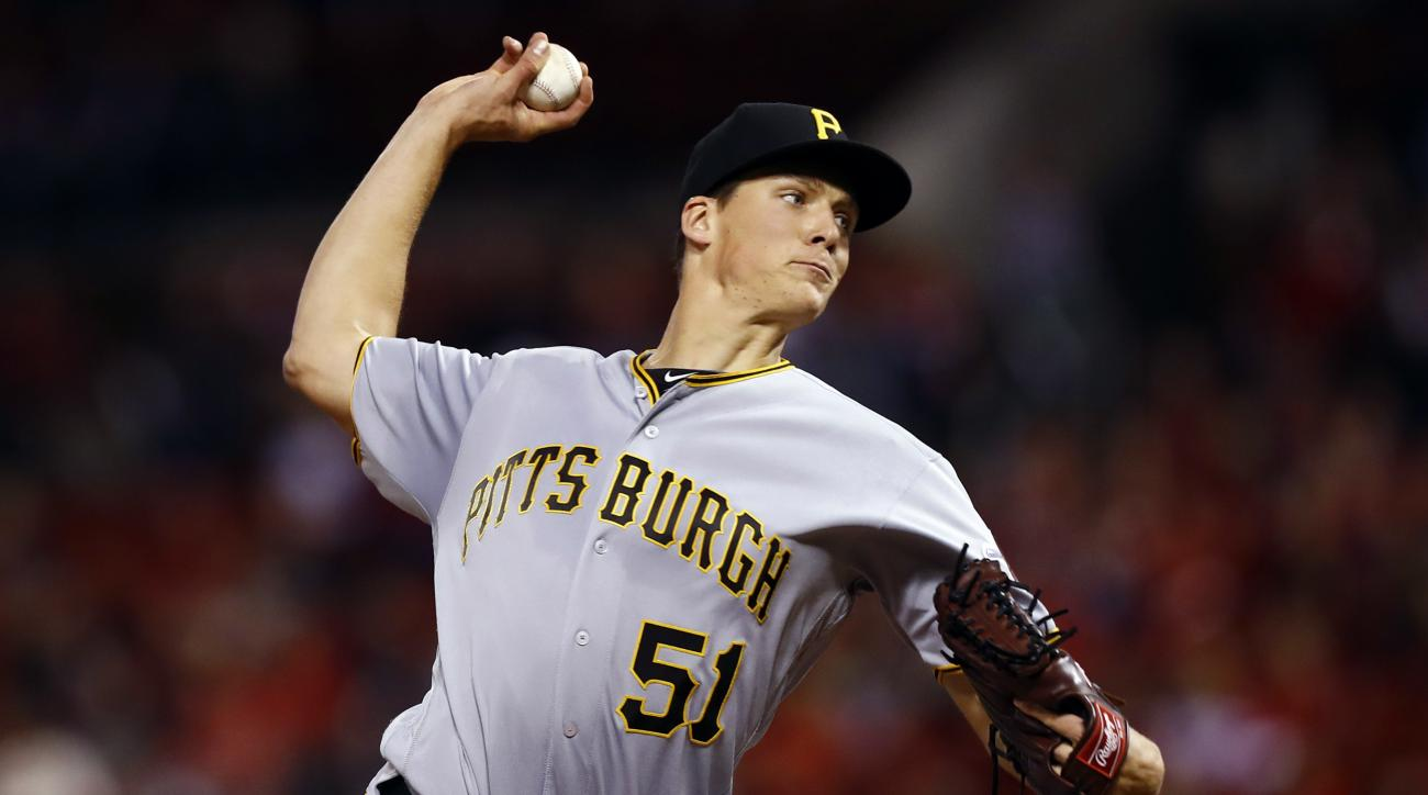 Pittsburgh Pirates starting pitcher Tyler Glasnow throws during the first inning of a baseball game against the St. Louis Cardinals, Friday, Sept. 30, 2016, in St. Louis. (AP Photo/Billy Hurst)