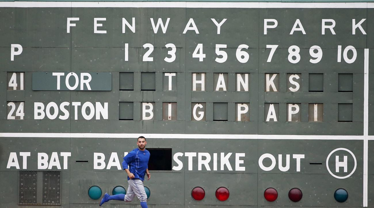A message to Boston Red Sox's David Ortiz is displayed on the scoreboard before a baseball game against the Toronto Blue Jays in Boston, Sunday, Oct. 2, 2016. (AP Photo/Michael Dwyer)