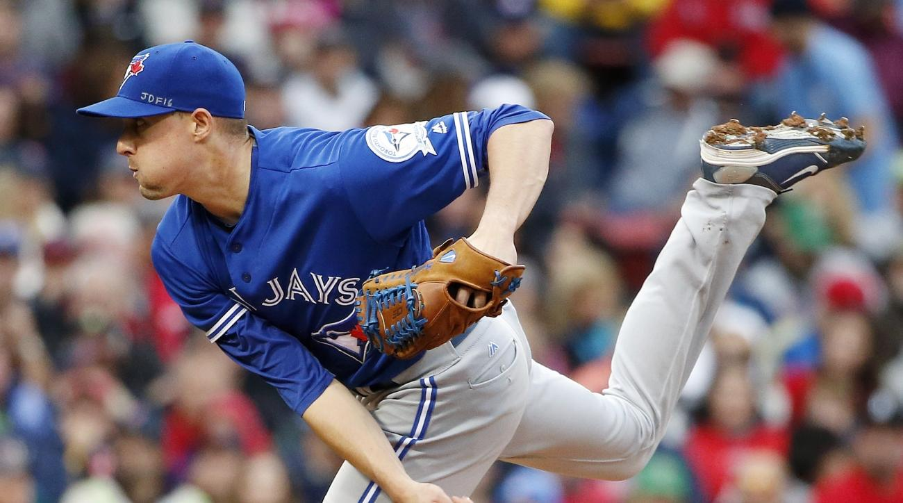 Toronto Blue Jays' Aaron Sanchez pitches during the second inning of a baseball game against the Boston Red Sox in Boston, Sunday, Oct. 2, 2016. (AP Photo/Michael Dwyer)