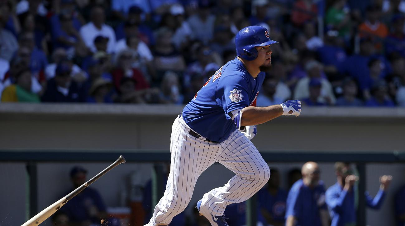 FILE - In this March 26, 2016 file photo, Chicago Cubs' Kyle Schwarber bats against the San Francisco Giants during a spring training baseball game in Mesa, Ariz. Most major league teams deal with injuries of some significance at some point in the season,