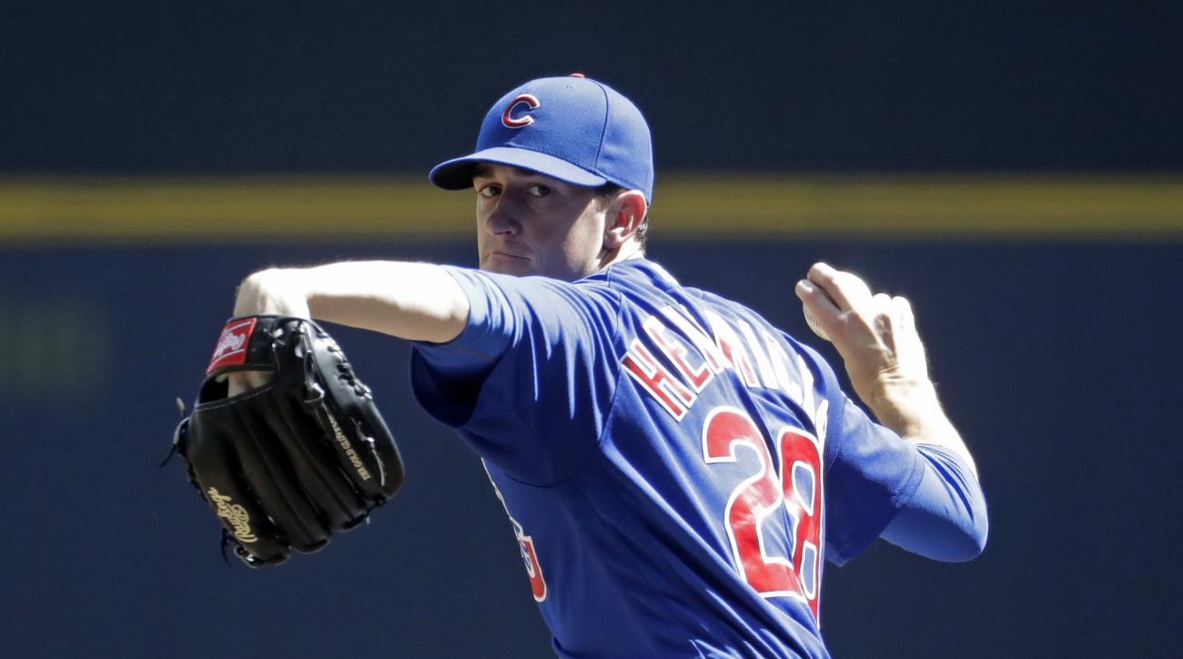 FILE - In this Sept. 5, 2016, Chicago Cubs starting pitcher Kyle Hendricks throws during the sixth inning of a baseball game against the Milwaukee Brewers, in Milwaukee. The righty began the season as the No. 5 starter for the Cubs. Now he gets the ball i