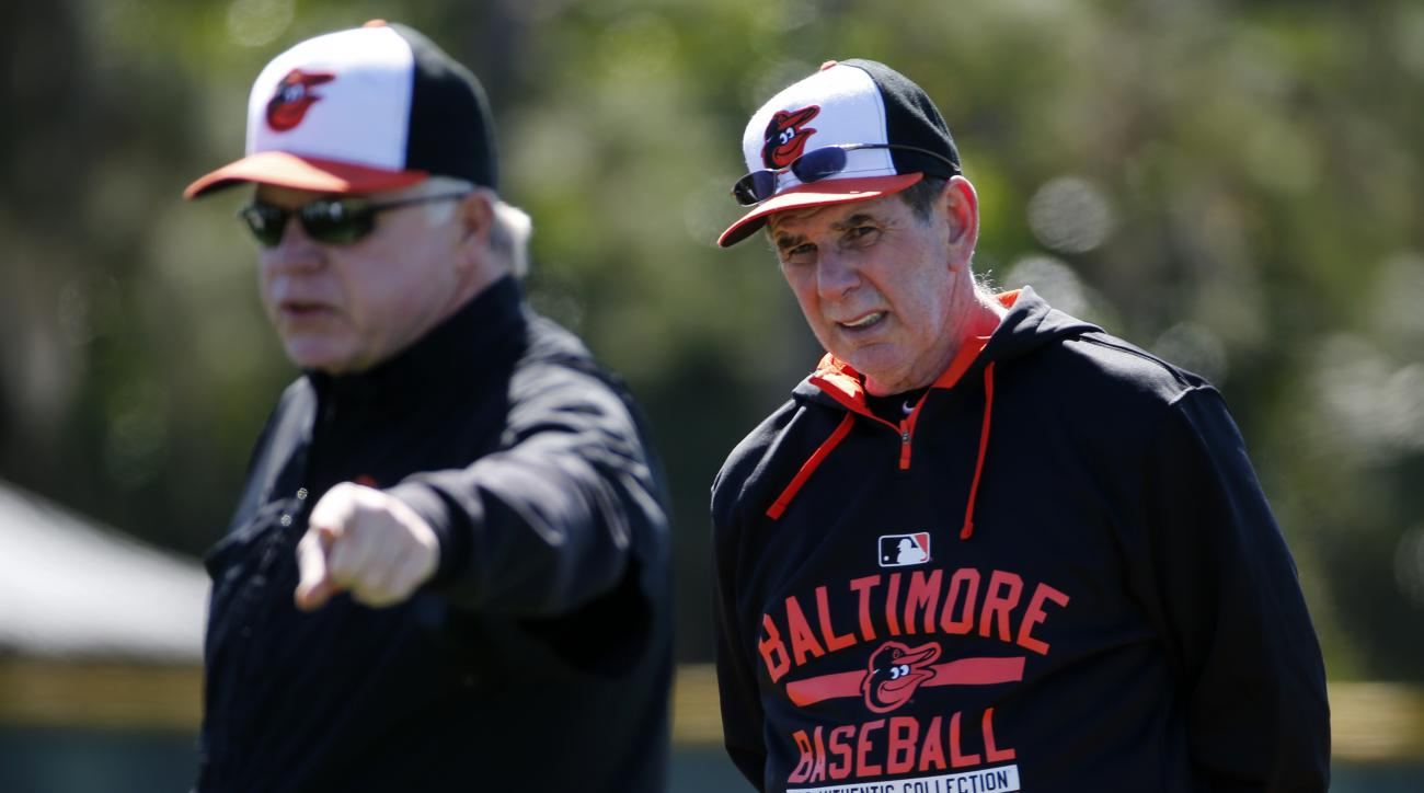FILE - In this Feb. 20, 2016, file photo, Baltimore Orioles manager Buck Showalter , left, explains a drill as pitching coach Dave Wallace listens during  the first day of spring training baseball for Orioles pitchers and catchers  in Sarasota, Fla. Walla