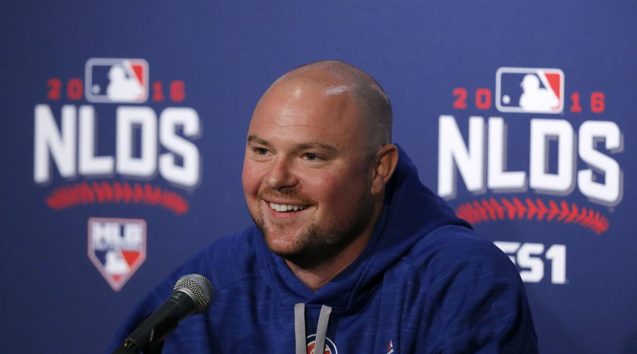 Chicago Cubs starting pitcher Jon Lester smiles during a news conference Thursday, Oct. 6, 2016, in Chicago. The Cubs are scheduled to face the San Francisco Giants  in Game 1 of a baseball National League Division Series on Friday. (AP Photo/Charles Rex