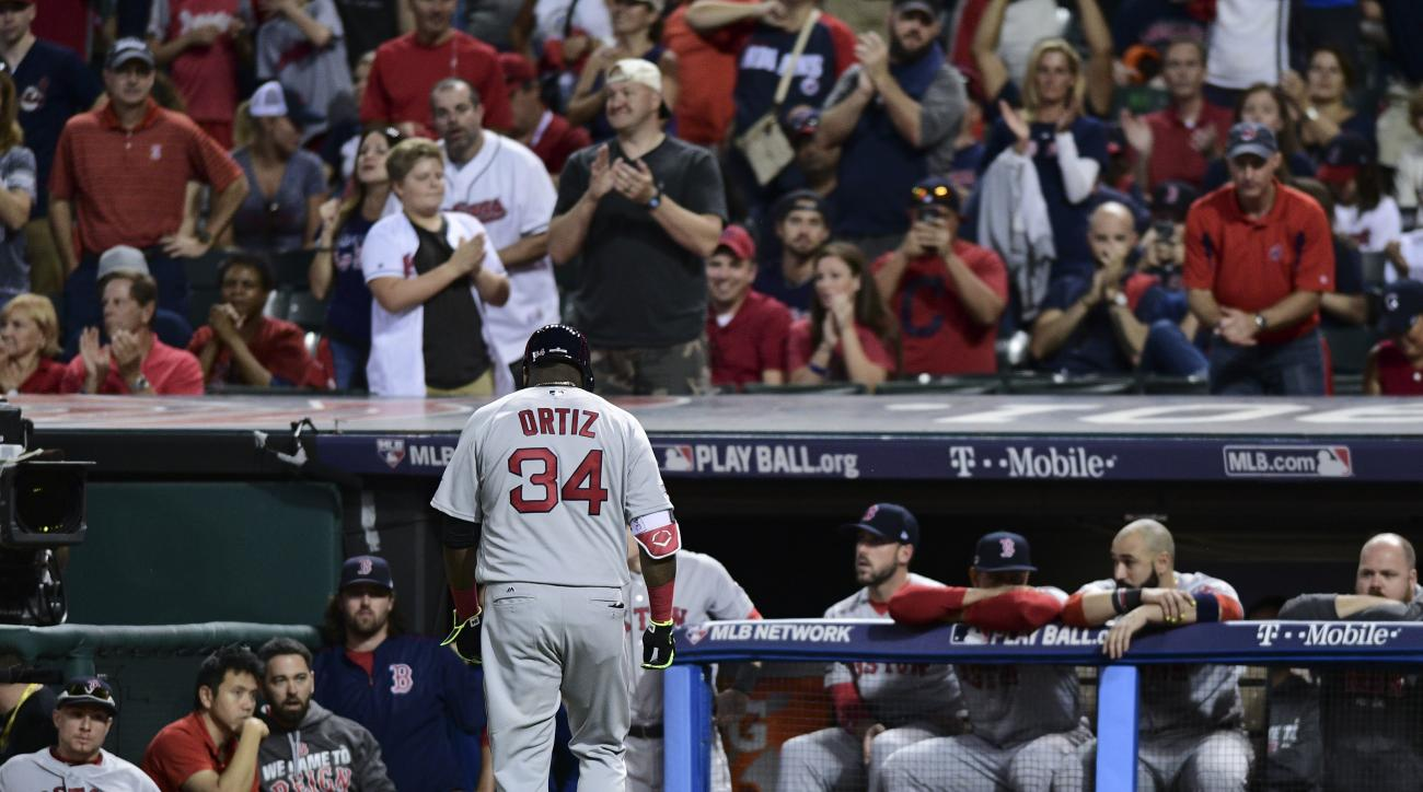 Boston Red Sox's David Ortiz (34) walks to the dugout after flying out against the Cleveland Indians during the ninth inning of Game 2 of a baseball American League Division Series, Friday, Oct. 7, 2016, in Cleveland. Cleveland won 6-0. (AP Photo/David De