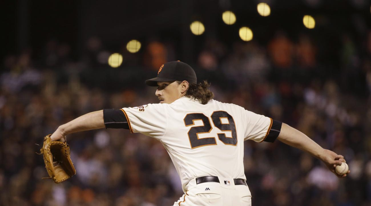 FILE - In this Sept. 12, 2016, file photo, San Francisco Giants starting pitcher Jeff Samardzija throws during the third inning of a baseball game against the San Diego Padres in San Francisco. Samardzija is scheduled to start Game 2 against the Chicago C