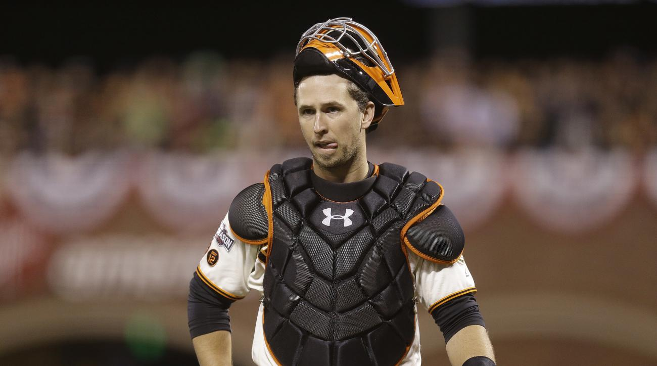 San Francisco Giants catcher Buster Posey reacts during the ninth inning of Game 4 of baseball's National League Division Series against the Chicago Cubs in San Francisco, Tuesday, Oct. 11, 2016. (AP Photo/Ben Margot)