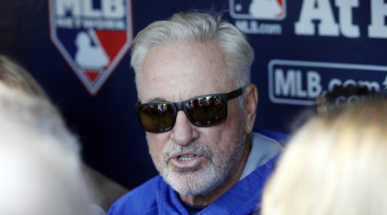 Chicago Cubs manager Joe Maddon talks to the media during a team workout in preparation for Saturday's Game 1 in baseball's National League Championship Series in Chicago, Thursday, Oct. 13, 2016. (AP Photo/Nam Y. Huh)