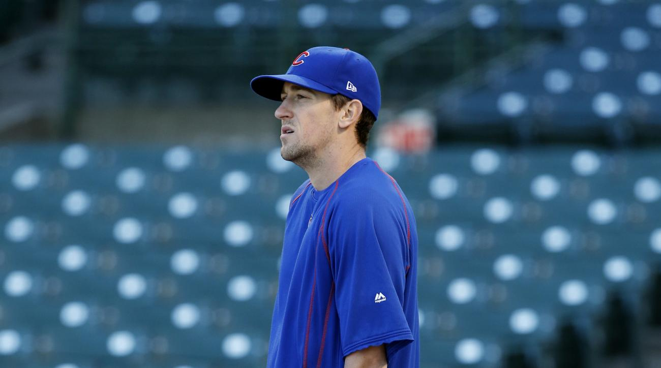 Chicago Cubs pitcher Kyle Hendricks watches batting practice during a team workout in preparation for Saturday's Game 1 in baseball's National League Championship Series in Chicago, Thursday, Oct. 13, 2016. (AP Photo/Nam Y. Huh)