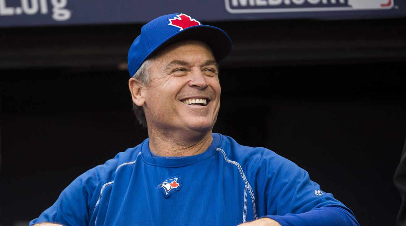 Toronto Blue Jays manager John Gibbons laughs during batting practice Thursday, Oct. 13, 2016, in Cleveland. The Blue Jays are scheduled to face the Cleveland Indians in Game 1 of baseball's American League Championship Series on Friday. (Nathan Denette/T