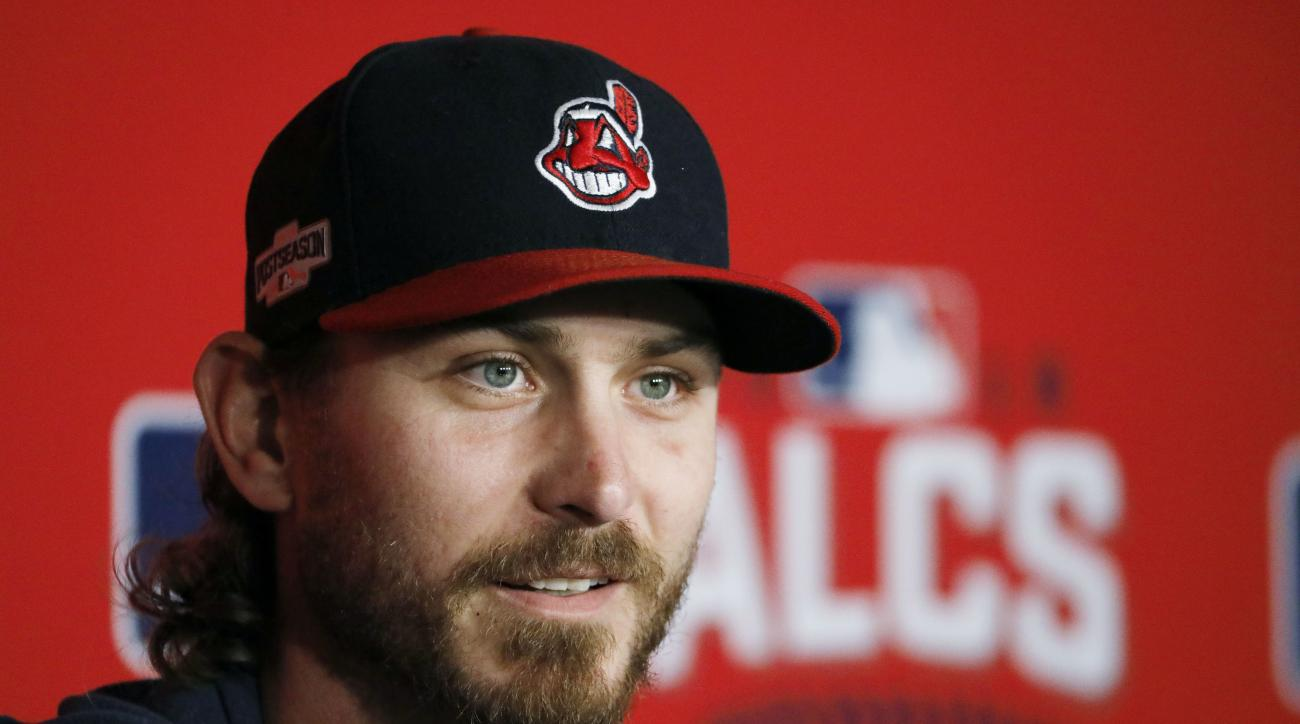 Cleveland Indians starting pitcher Trevor Bauer talks to reporters before Game 1 of baseball's American League Championship Series against the Toronto Blue Jays in Cleveland, Friday, Oct. 14, 2016. (AP Photo/Gene J. Puskar)