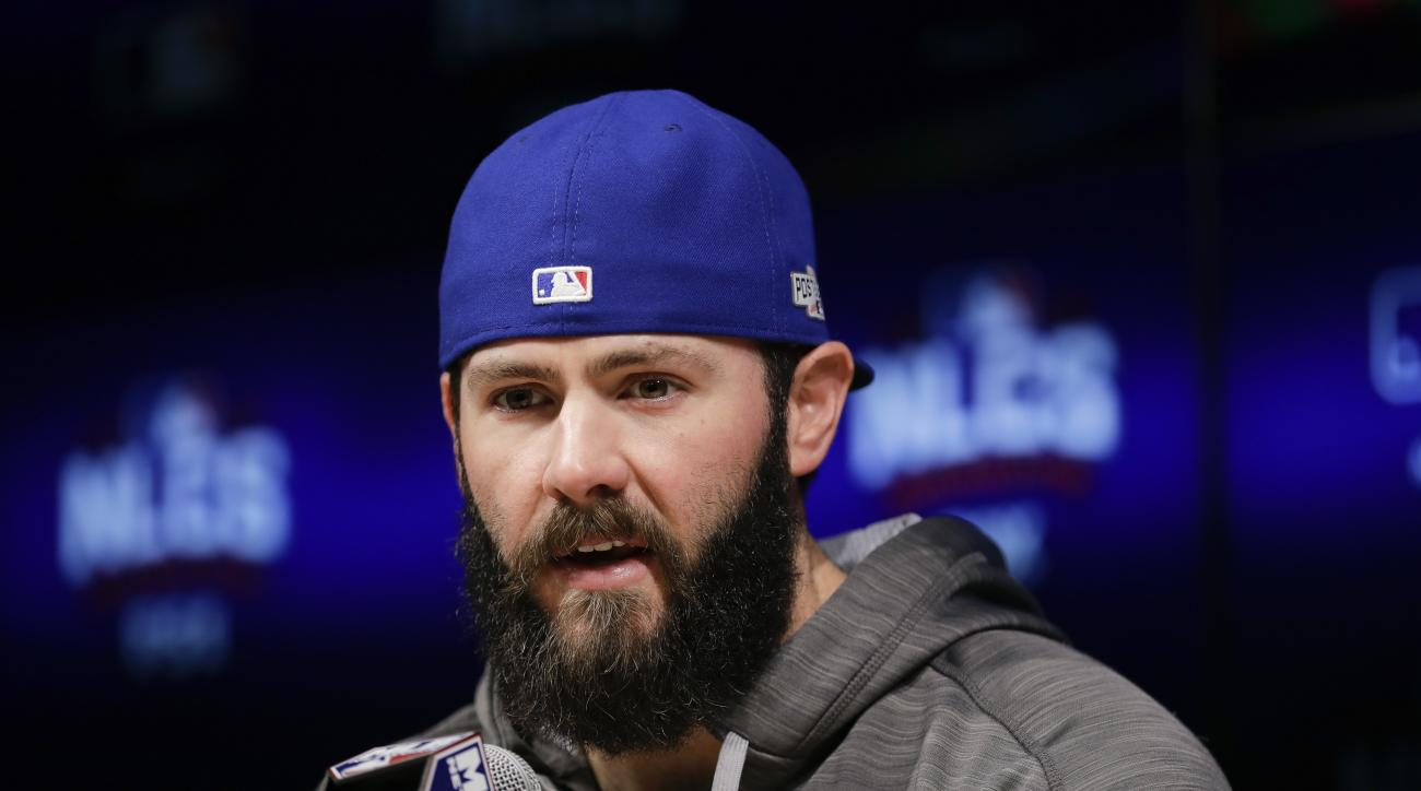 Chicago Cubs starting pitcher Jake Arrieta talks to reporters during a news conference ahead of Tuesday's Game 3 of the National League baseball championship series against the Los Angeles Dodgers, Monday, Oct. 17, 2016, in Los Angeles. (AP Photo/Jae C. H