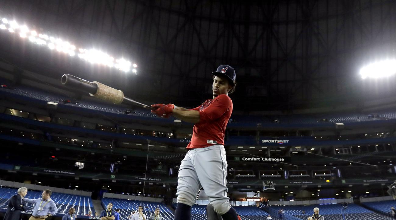 Cleveland Indians shortstop Francisco Lindor warms up during batting practice before Game 5 of baseball's American League Championship Series against the Toronto Blue Jays in Toronto, Wednesday, Oct. 18, 2016. (AP Photo/Charlie Riedel)