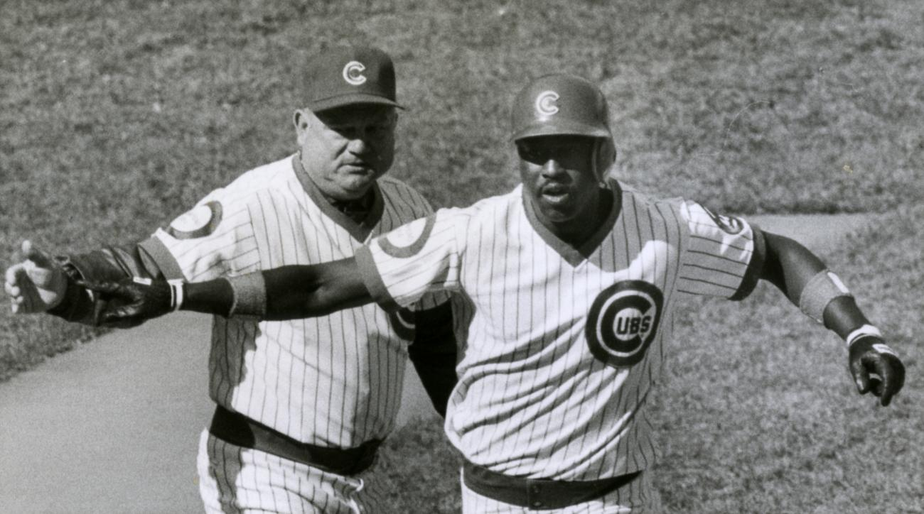 FILE - In this Oct. 2, 1984, file photo, Chicago Cubs third base coach Don Zimmer, left, congratulates Gary Matthews on his home run of San Diego Padres' Eric Snow during the first inning of Game 1 of the NL Championship Series in Chicago. Matthews hit an